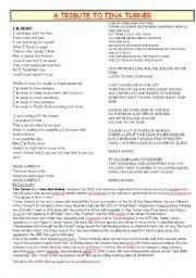 English Worksheet: A TRIBUTE TO TINA TURNER