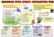 English Worksheet: EASY GRAMMAR WITH SPIDEY! IMPERATIVES WEB - FUNNY GRAMMAR-GUIDE FOR YOUNG LEARNERS IN A POSTER FORMAT (Part 6)