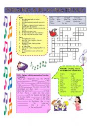 English Worksheets: Singing and playing music