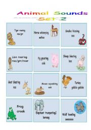 English Worksheet: Animal Sounds - Flashcards - Set 2