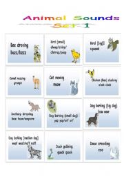 English Worksheets: Animal Sounds - Flashcards - Set 1