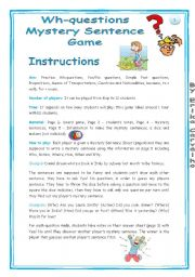 English Worksheet: Wh-questions Mystery Game
