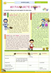 English Worksheet: The 1st 45-minute-lesson (of 2) on the topic My Favourite Sport  --  Reading Comprehension for Upper Elementary and Lower intermediate students