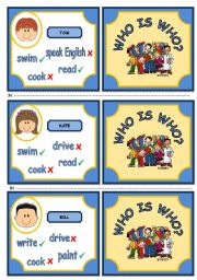 English Worksheet: WHO IS WHO? . GAME (VERB CAN - PART 2)