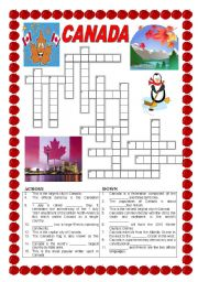 English Worksheet: Canada - crossword