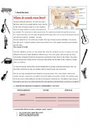English Worksheets: WHERE DO SOUNDS COME FROM? (READING COMPREHENSION)