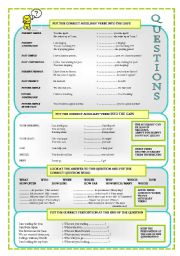 English Worksheets: QUESTIONS FORMING -  rules + exercises