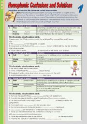 English Worksheets: Homophonic confusions and solutions