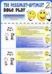 English Worksheet: Pessimist-Optimist Role Play 2.