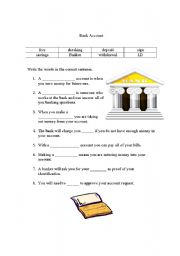 English Worksheets: Bank Account