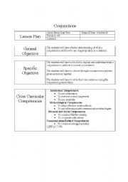 English Worksheets: Conjunction Lesson plan