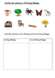 English Worksheets Living And Non Things