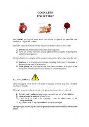 English worksheet: Cognates true or false?