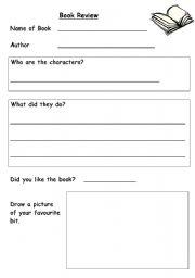 English worksheet: Book Review Sheet