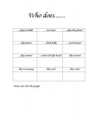 English Worksheets: who does...?