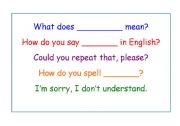 English worksheet: Useful classroom phrases - Poster for the classroom wall