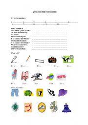 English worksheet: mixed exercises for elementary