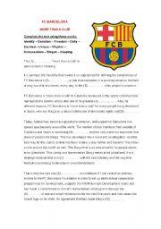 English Worksheets: FC Barcelona - fill the gaps
