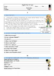 English Worksheet: TEST - 6th form - ID, countries, dates, to be, pers pron, poss adj...