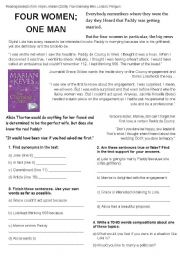 English Worksheets: Reading Comprehension: FOUR WOMEN; ONE MAN