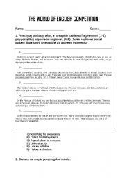 English worksheets: English competition for Junior High School ...
