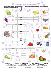 English Worksheet: FRUIT CROSSWORD with secret message!