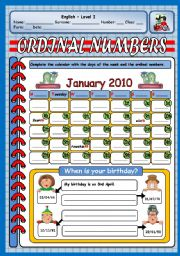 English Worksheet: ORDINAL NUMBERS - BIRTHDAYS