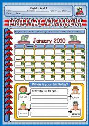 English Worksheet: ORDINAL NUMBERS - BIRTHDAYS