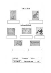 English Worksheets: Extinct and endangered animals
