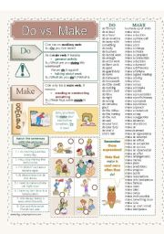 English Worksheet: Do vs. Make - 2 pages + key
