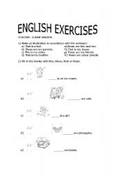 English worksheet: This and that