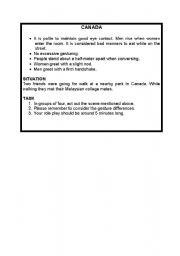 English Worksheet: role play situations on gestures around the world