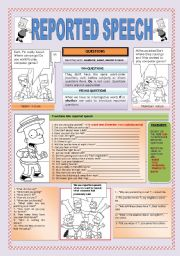 English Worksheet: REPORTED SPEECH: QUESTIONS