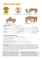 English Worksheets: Where is the dog?