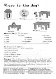 English Worksheets: Where is the dog exercise B&W