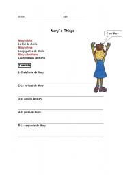 English Worksheets: Mary�s things