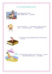 English Worksheets: in on under behind near