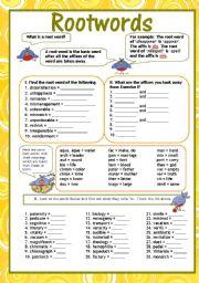 Root Words Including Some Latin Root Words Esl Worksheet