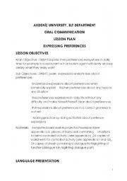 English Worksheet: expressing preferences-lesson plan