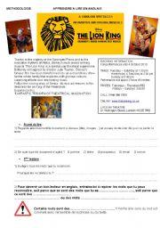 English Worksheet: Reading : the Lion King