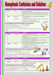 English Worksheets: Homophonic Confusions and Solutions 4