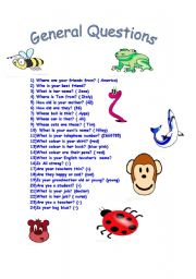English Worksheets: general quest�ons