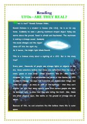 English Worksheet: UFOs - Are they real?