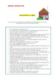 English Worksheet: Energy saving tips
