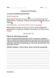 English Worksheet: Grammar Proofreading