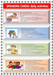 English Worksheet: Speaking Cards: daily activities (1 of 3)