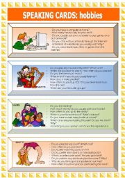 English Worksheet: Speaking Cards: hobbies (2 of 3)