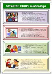 English Worksheets: Speaking Cards: relationships (3 of 3)