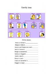Simpsons family tree worksheet pdf