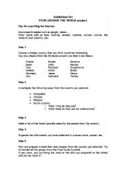 English Worksheet: Guidelines for FOOD AROUND THE WORLD project